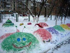 colorful snow decorations