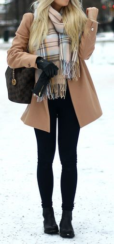 #Winter #Outfits / Madras Scarf + Beige Coat