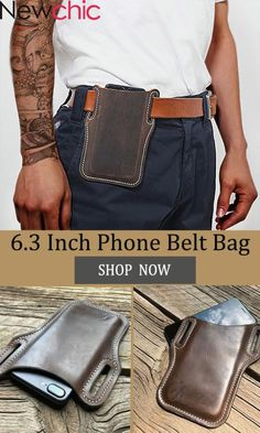 Men Genuine Leather 7.2 Inch Retro Short Cell Phone Case Belt Bag Leather Wallet Pattern, Handmade Leather Wallet, Sewing Leather, Leather Keychain, Leather Bag Tutorial, Leather Diy Crafts, Leather Projects, Leather Craft, Leather Holster