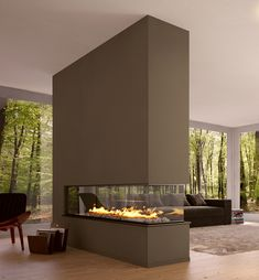 I'd love to have the space for this triple sided fireplace and the views for those awesome windows.