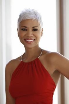 Janice Cosby Bridges - age 56 and completely grey. No botox, no plastic surgery. SHE IS GORGEOUS and her hair is FAB!!!! WERK IT GIRL!!!!