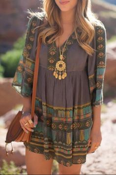 3/4 Sleeve Tribal Pattern Tunic Dress COLORMIX: Casual Dresses | ZAFUL