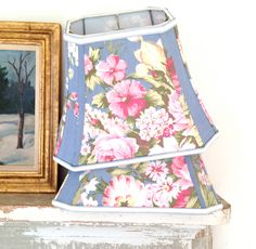 Shabby Chic Lamp Shade Lampshade Vintage Floral 1940s Fabric - 9x14x10.5 Cut Corner Rectangle Bell - Pretty, Pretty by lampshadelady on Etsy
