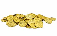 Realistic Shiny Gold Plastic Coins | Pirate & Nautical Party Decorations