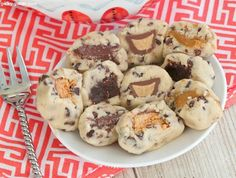 Egg-free cookie dough bites stuffed with goodies like candy bars, Nutella, Biscoff, etc.