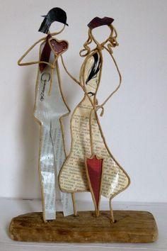 Les amoureux de la Saint-Valentin ! - figurines en ficelle de kraft armé et papiers originaux : Accessoires de maison par ficelleetpapier