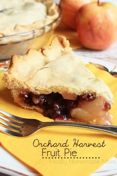 Orchard Harvest Fruit Pie - This beautiful double crust pie is filled with apples, pears, and cranberries - the perfect dessert for entertaining guests this fall! #FallMoments #ad