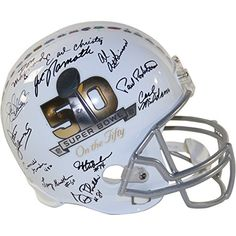 1969 New York Jets Team Autographed Super Bowl 50 On The Fifty Commemorative Replica Helmet 23 Signatures ** You can find out more details at the link of the image.