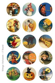 Vintage Halloween Bottle Cap Images - 4 x 6 Digital Collage Sheet - 1 inch Round Circles - INSTANT DOWNLOAD