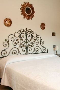 Wrought Iron Beds, Bedsteads and Bed Heads with Durable Bearings Wrought Iron Bed Frames, Wrought Iron Headboard, Wrought Iron Decor, Wrought Iron Garden Furniture, Iron Furniture, Bedroom Furniture, Furniture Ideas, Art Deco Bedroom, Bedroom Decor