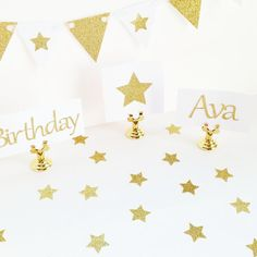 Gold Glitter Star Confetti Table Confetti by KissHugDesign on Etsy