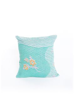 ocean blue kantha pillow {The Little Market}