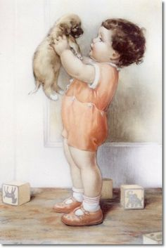 Bessie Pease Gutmann - Benjamin Scolds His Dog Danny for Knocking Over All the Blocks Blocks Paintings, Vintage Baby Images Vintage, Vintage Pictures, Vintage Posters, Vintage Art, Bessie Pease Gutmann, Block Painting, Children Images, American Artists, Vintage Children