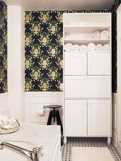 manhattan nest makes over ana gasteyer's bathroom / rifle paper co.' pineapple wallpaper from hygge + west