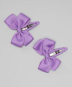 Look at this #zulilyfind! Purple Bow Clip Set #zulilyfinds