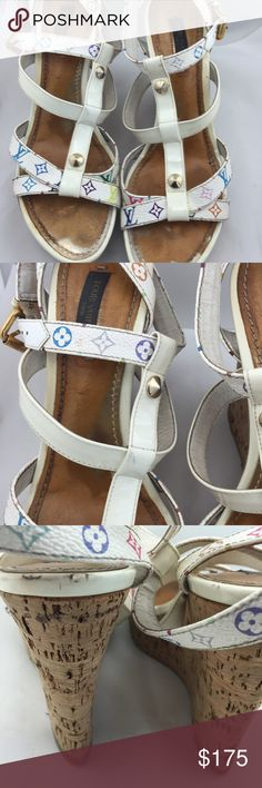 Authentic Louis Vuitton Wedges! In good condition!  Still can be worn.  The shoemaker can rejuvenate them.  There are a few marks on the shoe as per pictures. Bottoms have some wear. Wedge is 5 inches high. Louis Vuitton Shoes Wedges