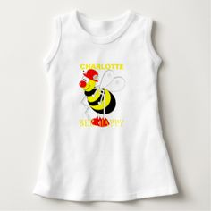 "Such a cute buzzy bee with a funny smiley face and text reading ""BEE HAPPY"" . Don't forget to customize with a personal name. Adorable for baby's and toddlers and ideal if your looking for a new baby or little girl birthday gift."