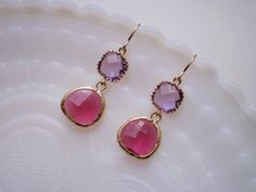 Lavender and Ruby Glass Gold Earrings