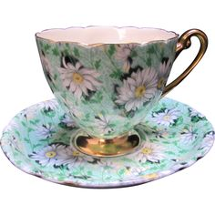 Gorgeous Shelley Green Daisy Chintz Cup & Saucer with Gold - Perfect!