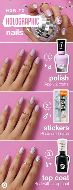 Trending for spring? Holographic nail designs. Here's how to get the look in three simple steps.