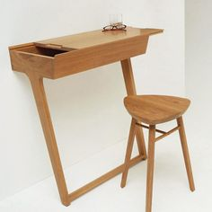 "Homeoffice - ""Quello Table"" design by Phil Procter in response to a brief set by esteemed British manufacturer, Ercol furniture. Ercol Furniture, Home Furniture, Furniture Design, Furniture Movers, Space Furniture, Furniture Ideas, Small Workspace, Desks For Small Spaces, Small Desk Space"