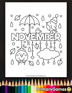 Free printable online Fall Coloring Pages eBook for use in your classroom or home from PrimaryGames. Print and color this November coloring page. Fall Coloring Sheets, Fall Coloring Pages, Coloring Pages For Kids, Free Coloring, Coloring Books, Printable Calendar Template, Free Printable, Kindergarten Coloring Pages, Coloring Pages Inspirational