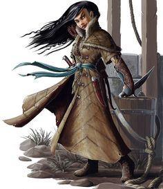 Halfing Ranger with long black hair wearing a long coat with blue sash, wielding a dagger. By BenWootten.deviantart.com on @deviantART