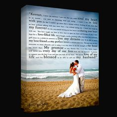 vows or first dance lyrics with wedding picture on canvas..great idea!