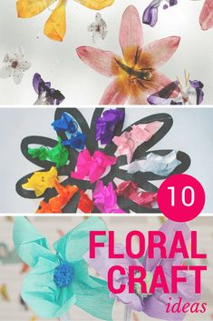 These fun floral craft ideas include flowers made from egg cartons, tissue paper and crochet, plus floral fine-motor and learning activities.