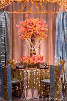 Paillettes Gold w/ Iridescent Taffeta Stardust Underlay; Tandoori Aqua w/ Paillettes Gold Chair Sleeve; Tandoori Aqua Chair Pad Covers