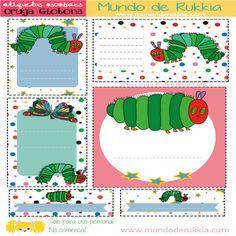 Etiquetas escolares, school labels, oruga glotona actividades, very hungry caterpillar, oruga glotona manualidades, very hungry caterpillar activities