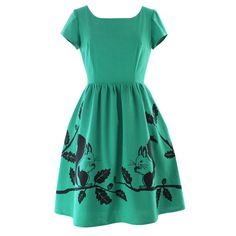 Stand out this Autumn in this fabulous, emerald green dress with a fun squirrel print decorating the skirt. The fitted bodice and full skirt give a flattering and feminine shape while the in seam pockets in the skirt add a more casual look for daytime. The dress is made from 100% cotton with a textured linen […]