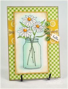 Hand Made Greeting Cards, Making Greeting Cards, Pot Mason, Mason Jars, Mason Jar Cards, Make Your Own Card, Beautiful Handmade Cards, Pots, Canning Jars