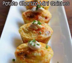 Potato Chorizo Mini Quiches Recipe, via Evening Espresso: theBERRY #recipes #quiche #chorizo