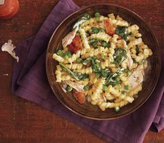 Easy creamy chicken pasta  http://www.realsimple.com/m/food-recipes/browse-all-recipes/chicken-spinach-pasta-00100000091780/index.html?xid=dailyrecnews-12-18-2012
