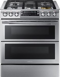 Samsung 30 Inch Slide-In Gas Range with cu. Oven Capacity, Flex Duo convection fans, Dual oven doors, Self-cleaning, Child lock and Wi-Fi Connection in Black Stainless Steel Kitchen Stove, Kitchen Appliances, Kitchen Reno, Kitchen Cabinets, Small Appliances, Kitchen Cooktops, Barn Kitchen, Kitchen Countertops, Kitchen Island