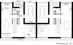 plan maison jumelee gratuit | Projet habitation jumelée | Pinterest