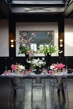 "Don't you just love a good Brooklyn wedding with impeccable style? We certainly do, and this lovely styled shoot designed by Bastille Flowers & Events is everything a girl could want. ""This gorgeous space features large graphic chandeliers, industrial sky lighting, elegant bar space and the perfect opportunity to bring in a modern art deco wedding and event design concept,"" says coordinator Simone Vega of Coordinated To Perfection. Gold, bright pink, black and white splashes..."