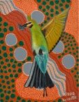 "Artist: 		KROCETTE    Title: 		""Rainbow Bee Eater In Flight""    Medium:	Acrylic on Canvas    Price: 		$SOLD  Size: 	355 x 280mm    Signed: 		KROCETTE 2012  Kidogo Art Institute - Gallery Aboriginal Artists, Bee Eater, Australian Artists, Home Art, Rainbow, Abstract, Canvas, Medium, Gallery"