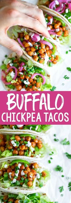 Street Taco Style Buffalo Chickpea Tacos are quick, easy, and totally tasty! With vegetarian and vegan versions, there's something for everyone. including an easy peasy recipe for quick pickled onion too! Spicy Vegetarian Recipes, Mexican Food Recipes, Dinner Recipes, Healthy Recipes, Vegan Meals, Quick Recipes, Vegetarian Tacos, Tofu Recipes, Chickpea Tacos