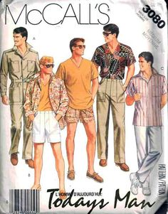 McCall's Sewing Pattern 3080 Mens unlined Jacket or Shirt, Top, Pants, Shorts and Belt Size: Medium Uncut