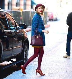 Taylor Swift.. Miss Patina Highland Coat, Aldo Frattapolesine Bag, Cole Haan Air Violet Oxford Pumps, and Free People Patton Porkpie Hat..... - Celebrity Fashion Trends