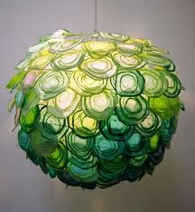Beautiful Chandelier Design with Colorful Hand Woven Paper, Daydream by Tomomi Sayuda Green Pendant Light, Paper Lampshade, Green Colour Palette, Chandelier Shades, Lamp Shades, Green Life, Geometric Designs, Pendant Lamp, Pendant Jewelry