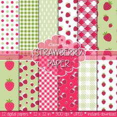 "Strawberry digital paper: ""STRAWBERRIES"" paper pack with strawberry pattern, polka dots, gingham in red and green for scrapbooking"