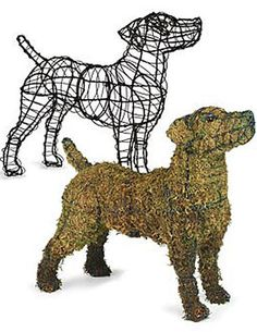 "Jack Russell Topiary    Standing guard on the porch or tiptoeing through the tulips, this life-size Jack Russell Terrier topiary frame is just plain fun! Fill with sphagnum moss and cover with ivy or other vining plants (moss and plants are not included). Durable black epoxy-coated steel 22"" L x 17"" H Weighs 2-1/2 lbs     Other Dog Topiary available.     $74.95"