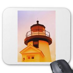 Lighthouse Bathed In Color At Sunset Mouse Pad