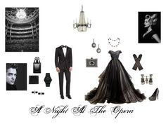 """A Night At The Opera"" by browncoat4ever ❤ liked on Polyvore featuring BOSS Hugo Boss, AGNELLE, Freida Rothman, Quoizel, ALDO, Gucci, Movado, Burberry and Swarovski"