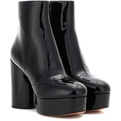Marc Jacobs Amber Patent Leather Platform Ankle Boots (2.020 BRL) ❤ liked on Polyvore featuring shoes, boots, ankle booties, marc jacobs, black, bootie boots, platform boots, short boots, black bootie and black boots