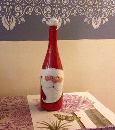 Christmas Santa's Wine Bottle - Christmas Decoration - reclaimed wine bottle - Gift for her - Holiday Decoration - Secret Santa's Gift Wine Bottle Gift, Wine Bottle Crafts, Jar Crafts, Bottle Art, Beer Bottle, Christmas Projects, Holiday Crafts, Christmas Crafts, Christmas Decorations