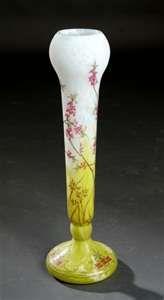 Daum Nancy glass vase enamelled